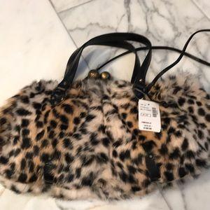 Fur leopard print purse